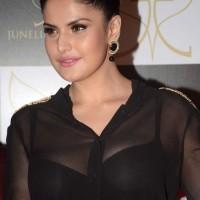 Zarine Khan Reveals Black Bra in Sheer Top