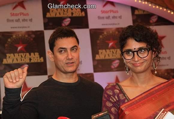 Aamir Khan and Kiran Rao Attend Star Parivaar Awards 2014