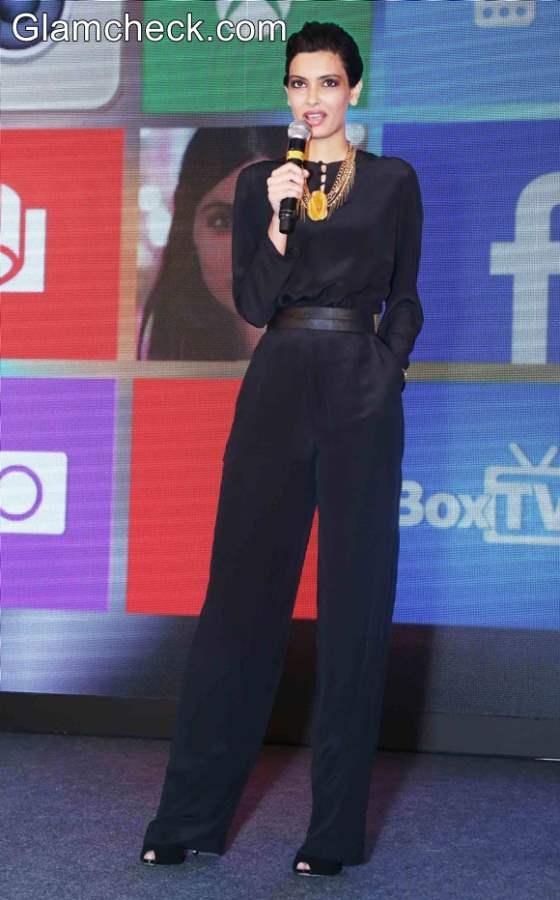 Diana Penty in Shivan and Naresh Black Jumpsuit
