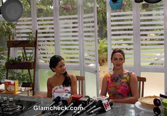 Esha Deol and Chef Chinu on the food show Sunny Side Up