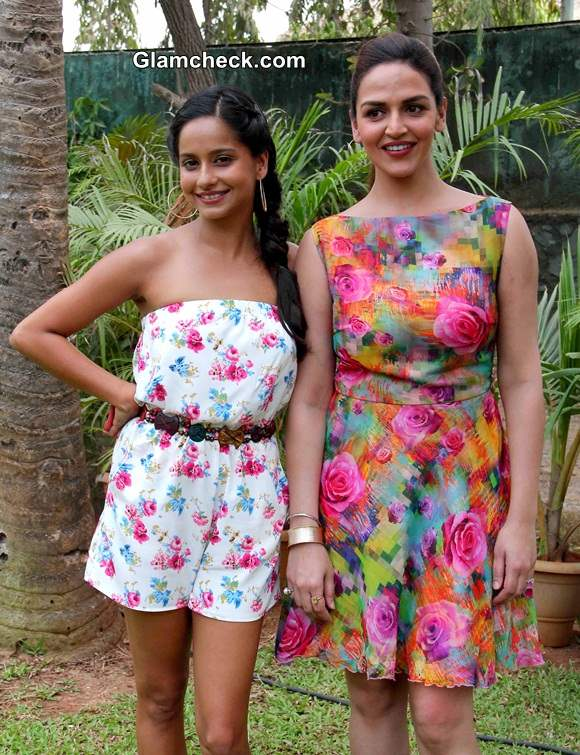 Esha Deol with Chef Chinu on the food show Sunny Side Up