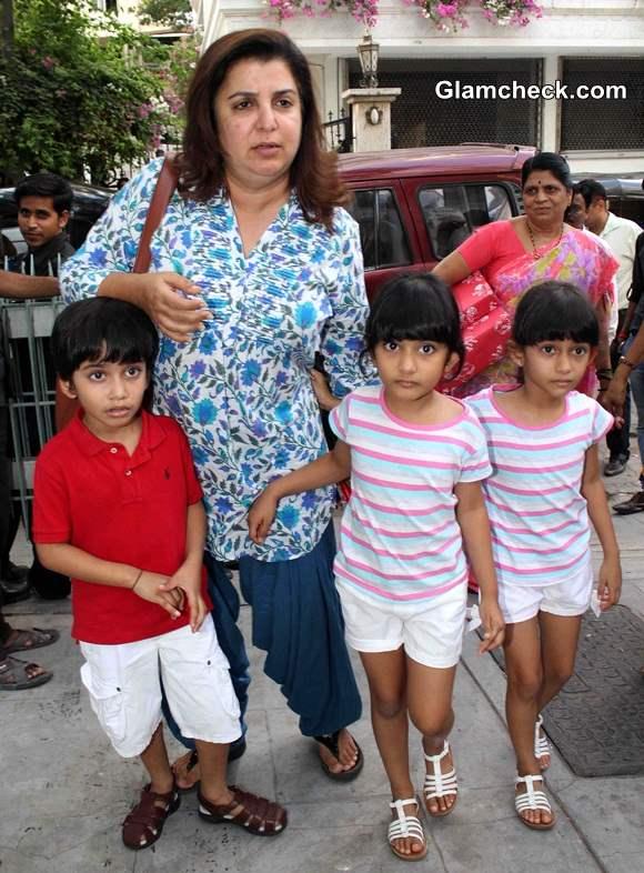 Farah Khan with her children Czar Diva and Anya