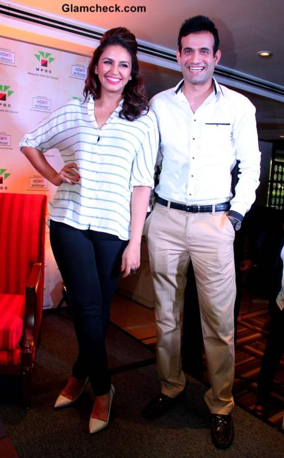 Irfan Pathan and Huma Qureshi at a cooking competition held by the Malaysian Palm Oil Council