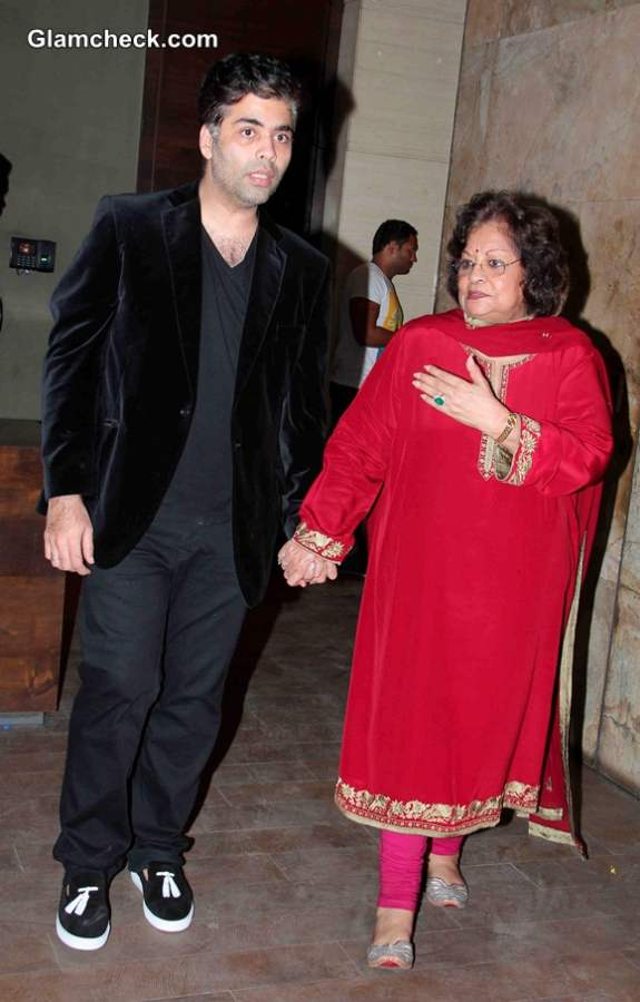 Karan Johar along with his mother Hiroo Johar