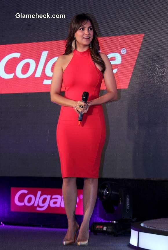 Lara Dutta Red Bodycon Dress at Colgate Event