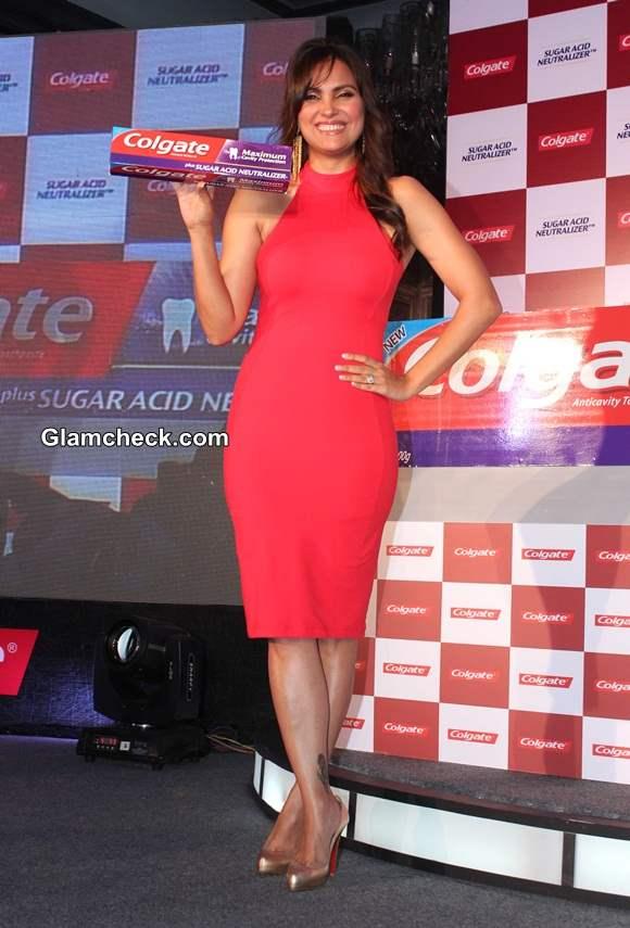 Lara Dutta Sports Red Bebe Bodycon Dress at Colgate Event