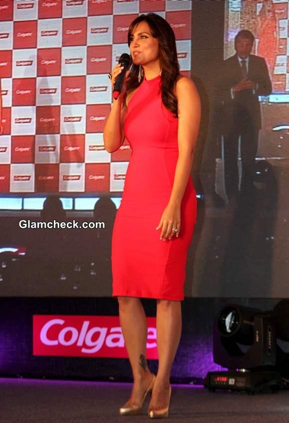Lara Dutta in Red Bebe Bodycon Dress at Colgate Event
