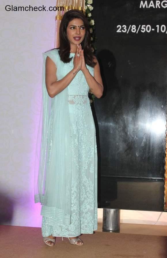Priyanka Chopra in Blue Lehenga 2014
