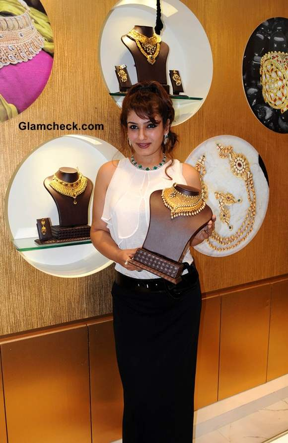 Raveena Tandon in Black and White outfit at  PC Jewellery Showroom Launch