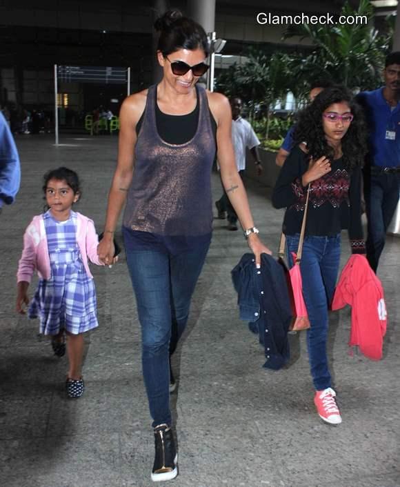 Sushmita Sen Leaves Mumbai Airport with Daughters