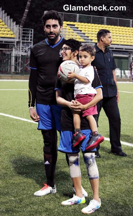 Abhishek Bachchan and Aamir Khans wife Kiran Rao with her son Azad