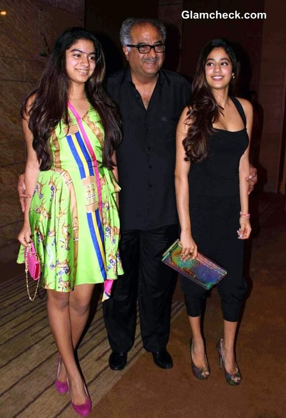 Boney Kapoor with daughters Khushi and Jhanvi Kapoor