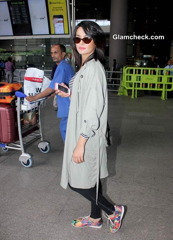Celebrity Airport Style Surveen Chawla 2014