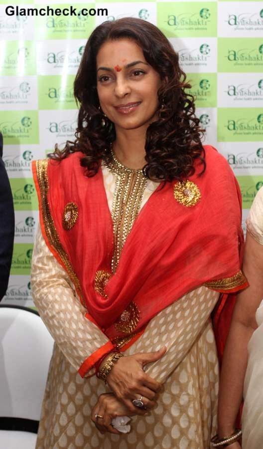Juhi Chawla 2014 at First Ayushakti Ayurvedic Centre Launch in Mumbai
