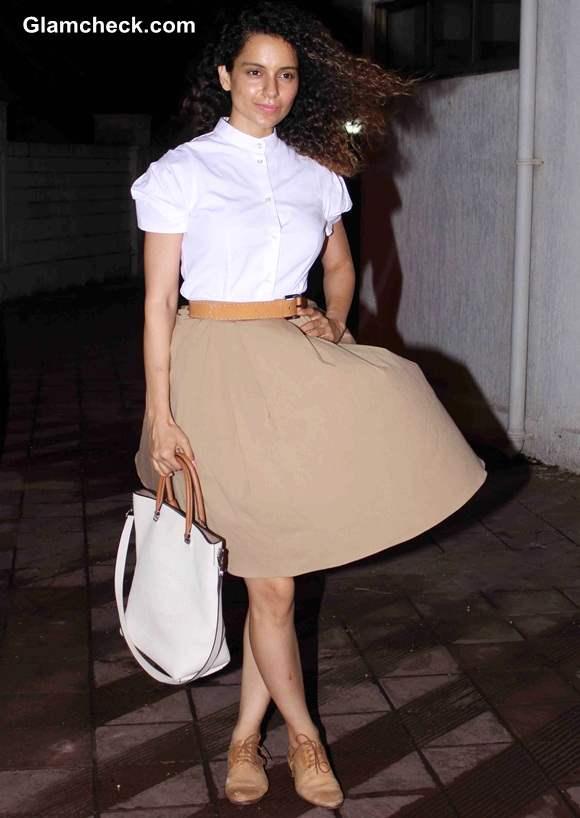 Kangana Ranaut Goes Neutral in Tan and White