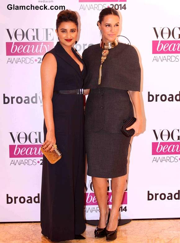 Parineeti Chopra Neha Dhupia at Vogue Beauty Awards 2014