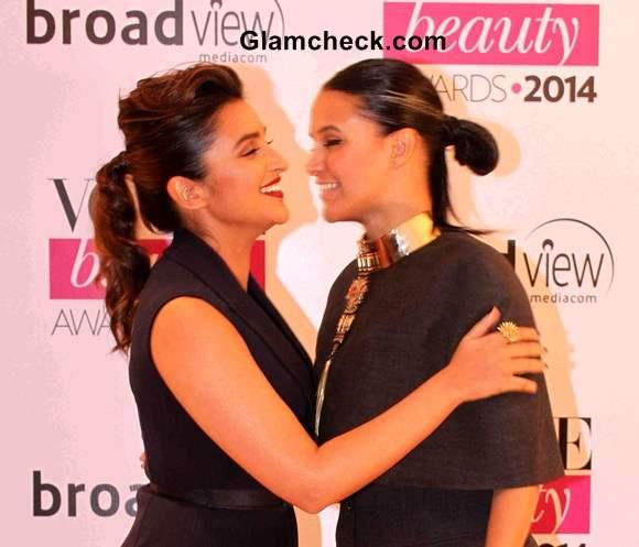 Parineeti Chopra and Neha Dhupia at Vogue Beauty Awards 2014