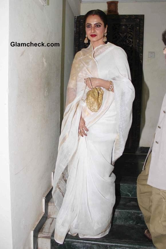 Rekha 2014 at Priyanka Chopras Birthday Party