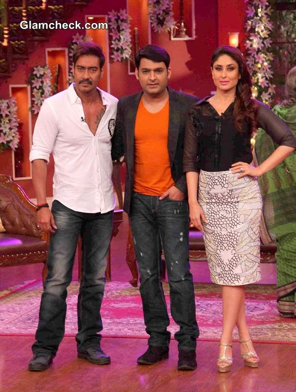 Ajay Kapil and Kareena at the promotions of Singha Returns on the sets of Comedy nights with Kapil
