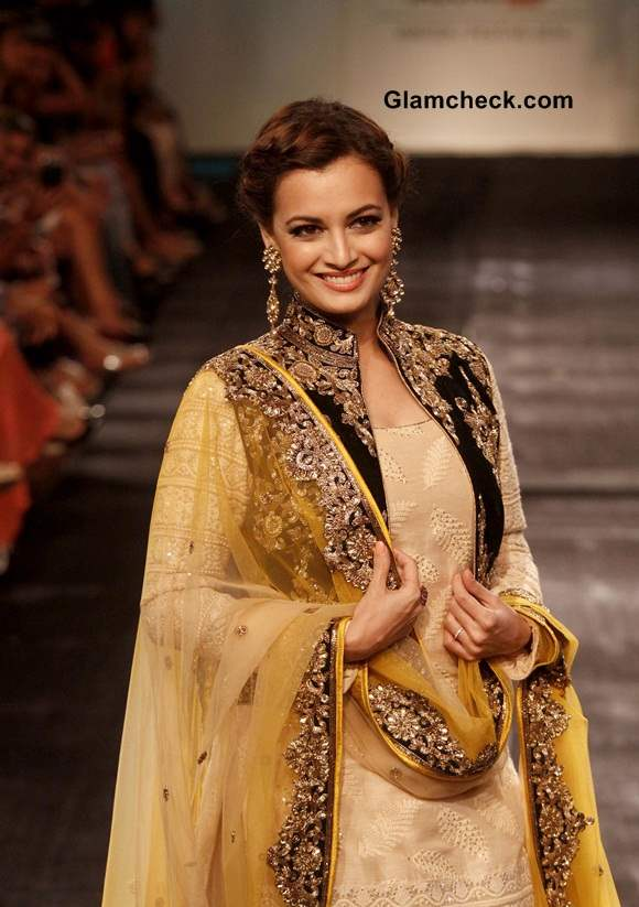 Dia Mirza for Vikram Phadnis at LFW 2014 Winter Festive