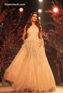 Esha Gupta for Jyotsna Tiwari at BMW India Bridal Fashion Week 2014