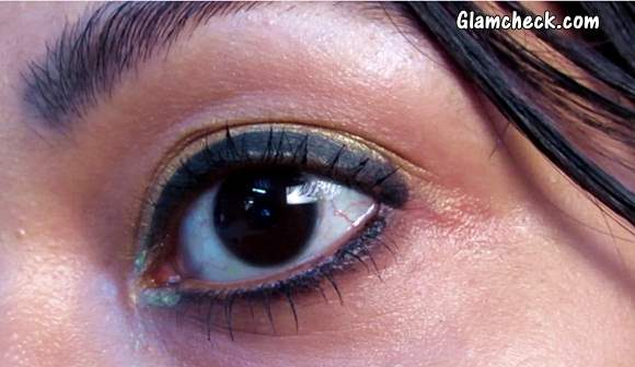 Golden Shimmery Eye Makeup - Indian Youtuber