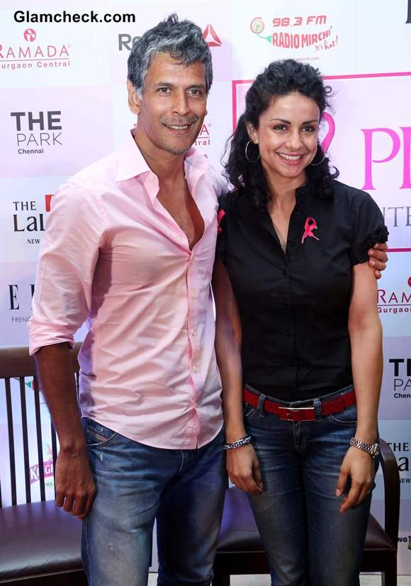 Gul Panag and Milind Soman at the launch of the 2nd Pinkathon in New Delhi