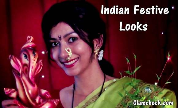Indian Festival - Ganesh Chaturthi Outfit Ideas Makeup Hairstyle