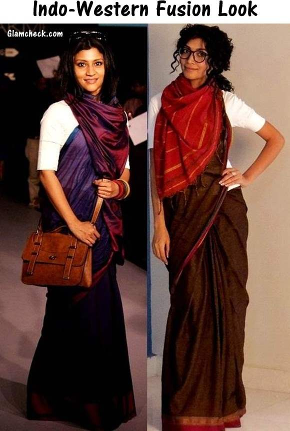 Indo-Western Fusion Look in Saree