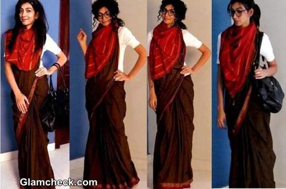 Indo-Western Fusion Look in Sari - Indian Youtuber