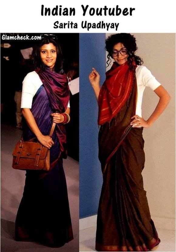 Indo Western Fusion Look in Sari - Indian Youtuber