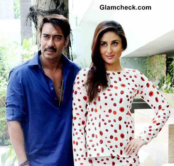 Kareena Kapoor and Ajay Devgan 2014 Movie Singham Returns