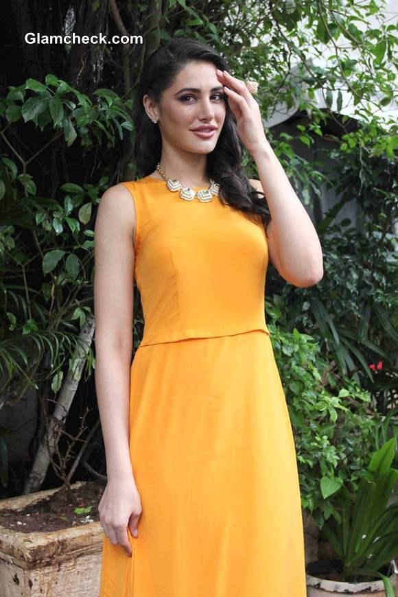 Nargis Fakhri 2014 in Orange Maxi