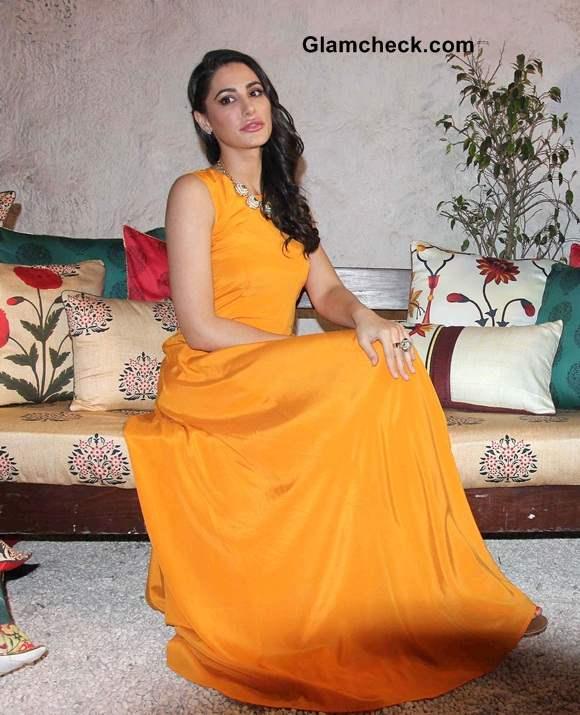 Nargis Fakhri in Orange Maxi DKNY