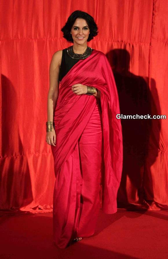 Neha Dhupia in Pink Sari