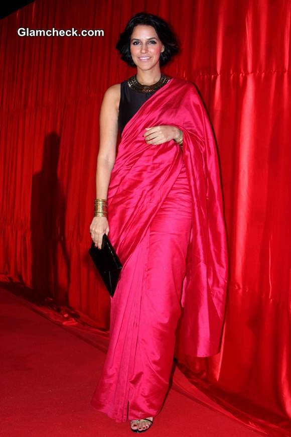 Neha Dhupia in Sari during the trailer launch of Ekkees Toppon Ki Salaami