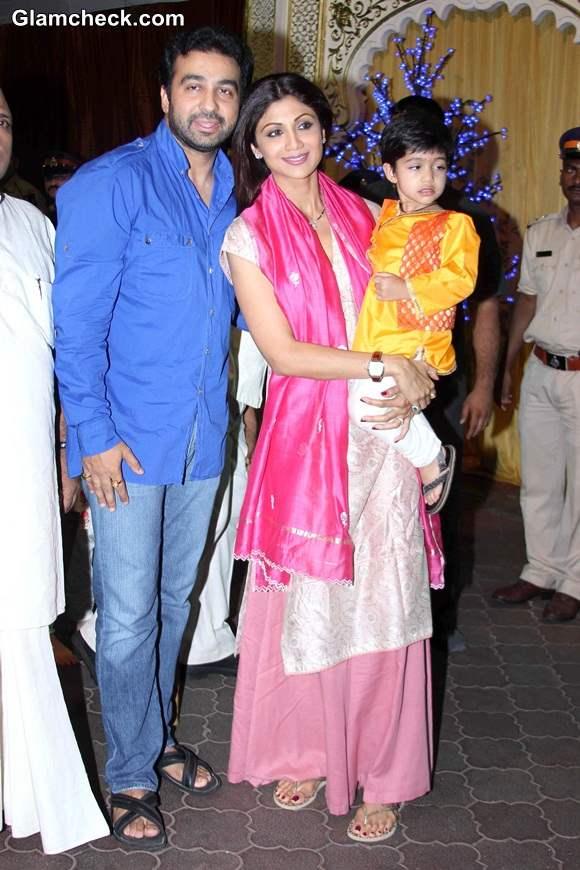 Shilpa Shetty with husband and son at ISKCON temple - Janamashtmi 2014