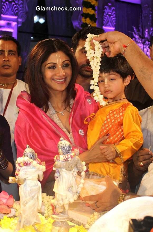 Shilpa Shetty with son Viaan  ISKCON temple - Janamashtmi 2014