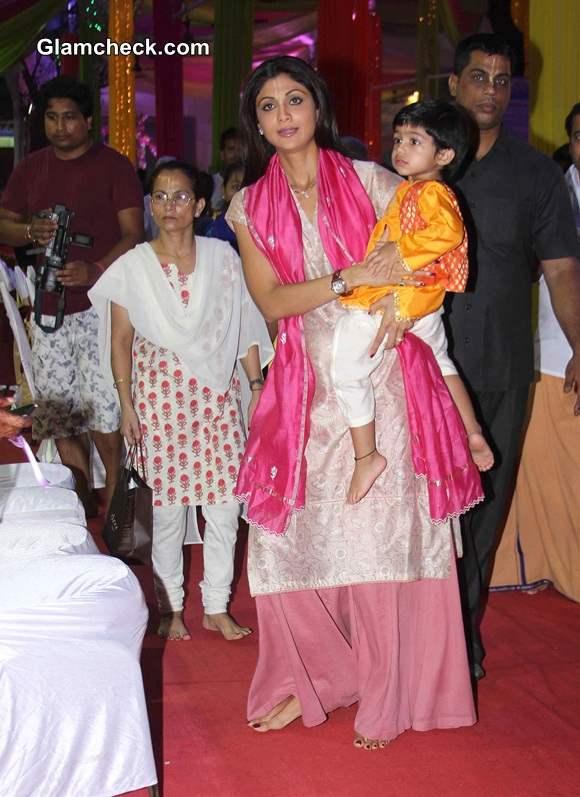 Shilpa Shetty with son at ISKCON temple - Janamashtmi 2014