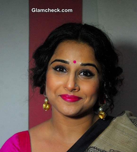 Vidya Balan Festive Hair and Pink Makeup