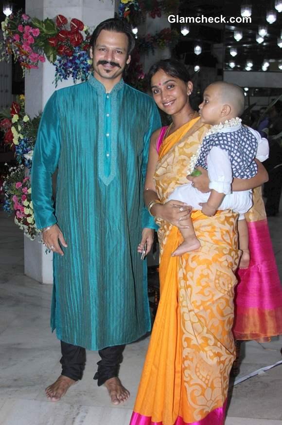 Vivek Oberoi along with his wife Priyanka Alva and son Vivaan Veer