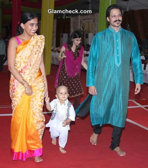 Vivek Oberoi with wife Priyanka Alva and son Vivaan Veer