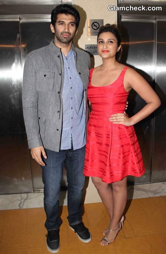 Aditya Roy Kapur and Parineeti Chopra at the press conferences of film Daawat-e-Ishq