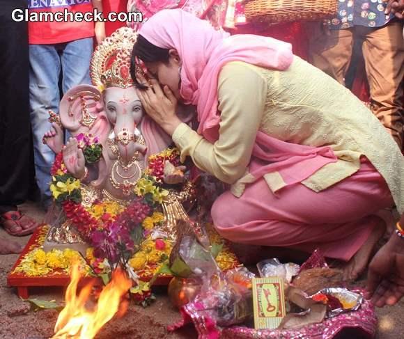 Ameesha Patel during Ganesh Chaturthi 2014