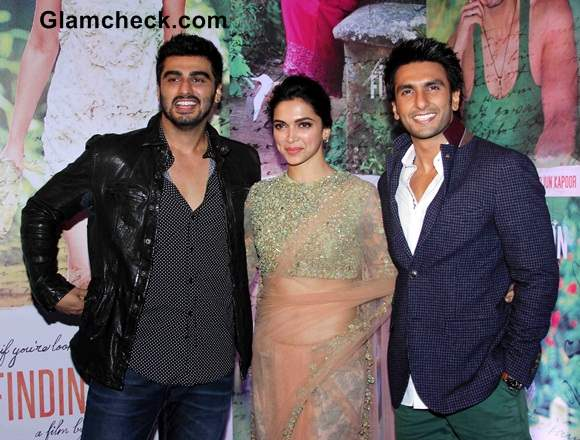 Arjun Deepika and Ranveer Singh at the success party of film Finding Fanny