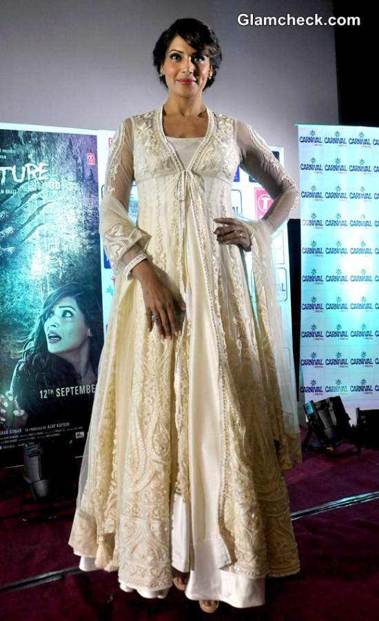 Bipasha Basu in White Anarkali Suit by Preeti S Kapoor