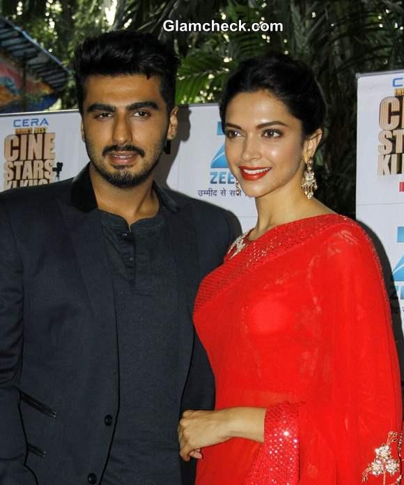 Deepika Padukone and Arjun Kapoor on the sets of Zee Cine Star Ki Khoj