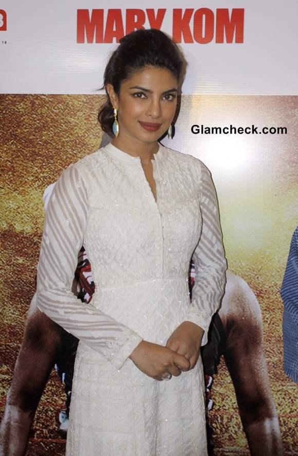 Priyanka Chopra in Anita Dongre white anarkali suit