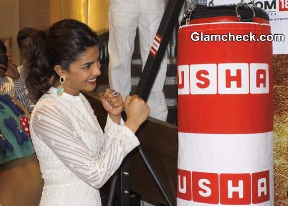 Priyanka Chopra visits the Usha International Hab centre in Mumbai