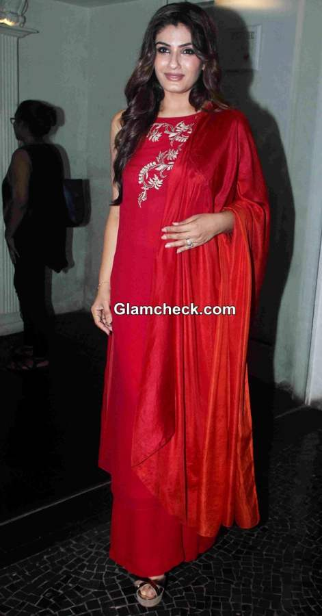 Raveena Tandon 2014 in Red Outfit